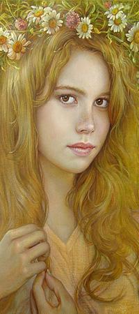 Аватар вконтакте Девушка с длинными волосами, в веночке из цветов