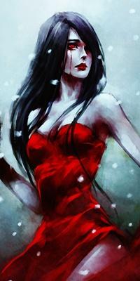 Аватар вконтакте Темноволосая девушка Mara / Мара - авторский персонаж художницы NanFe, в красном платье, с красными глазами, из которых течет кровь, под снегопадом