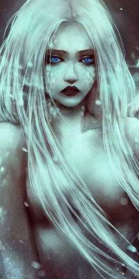 Аватар вконтакте Девушка с белыми волосами, черными губами и ярко-голубыми глазами, арт от NanFe
