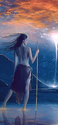 Аватар вконтакте Полуобнаженная девушка с посохом стоит в воде на фоне заснеженных гор и неба, by MirellaSantana