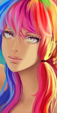 Аватар вконтакте Девушка с цветными волосами, by Yuuza