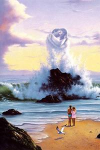 Аватар вконтакте Мужчина и девушка стоят на берегу моря, смотрят в даль, где огромная волна разбивается о скалистый островок, образуя из брызг силуэты целующихся влюбленных