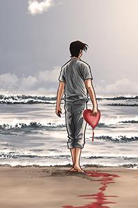 Аватар вконтакте Мужчина идет к морю в руке несет разбитое сердце, оставляя на песке кровавый след