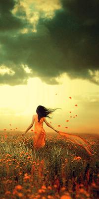 Аватар вконтакте Девушка с шифоновой красной лентой в поле цветов, art Whispyrr - Cameralabs