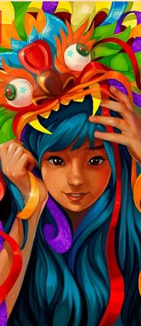 99px.ru аватар Азиатка с синими волосами и карими глазами в большой маске китайского дракона, арт от Ink-pot