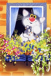 Аватар вконтакте Кот и мышка в проеме окна у цветущей подвесной клумбы