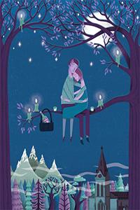 Аватар вконтакте Романтический вечер при свечах, Мужчина и девушка сидят на ветке дерева, на фоне звездного неба и полной луны