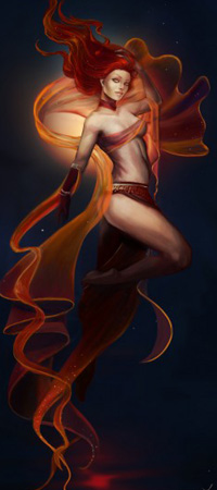 Аватар вконтакте Девушка на фоне темного неба парящая над водой