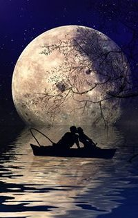 Аватар вконтакте Влюбленные на фоне полной луны сидят в лодке и целуются
