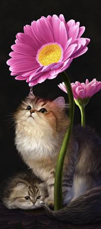Аватар вконтакте Кошка с котенком сидят под большим розовым цветком