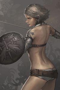 Аватар вконтакте Обнаженная девушка с щитом и мечом с тату на плече, art Jee-Hyung Lee