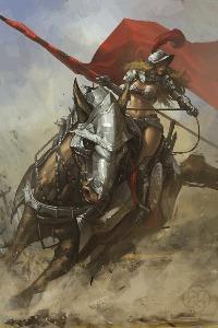 Аватар вконтакте Девушка-воин с красным знаменем на коне в латах