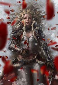 Аватар вконтакте Раненная девушка-воин в снегу среди лепестков роз, art Jee-Hyung Lee