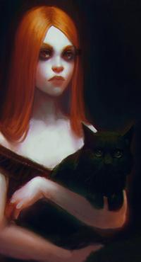 Аватар вконтакте Рыжеволосая девушка держит на руках черного кота