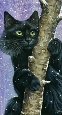 Аватар вконтакте Черный кот сидит на дереве, художник Ирина Гармашова