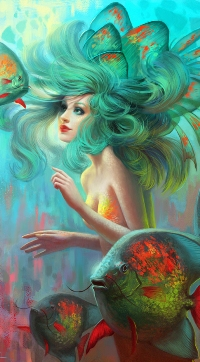 Аватар вконтакте Девушка-русалка под водой в окружении рыб, art by Viccolatte