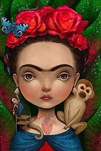 Аватар вконтакте Девушка в веночке на голове из красных цветов, с обезьянкой на плече, бабочкой на венке, сердцем с сосудами на шее