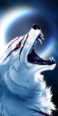 99px.ru аватар Белый волк с ранами на голове, поднял вверх голову и воет на Луну