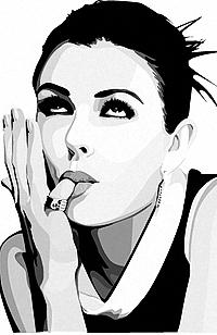 99px.ru аватар Рисунок Элизабет Херли, взявшую палец своей руки в рот