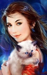 Аватар вконтакте Девушка держит на руках котенка, art by Phoenix Lu
