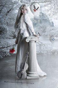Аватар вконтакте Девушка со скрипкой посреди снега и льда рядом с летающими бабочками и птицей, заключенными в ледяные пузыри, by Juli-SnowWhite
