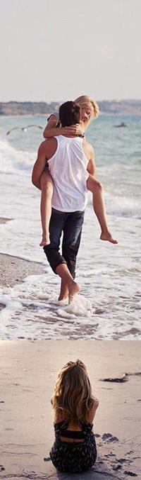 Аватар вконтакте Девушка сидит на морском песке и мечтает о том как парень ее будет носить вдоль морского побережья