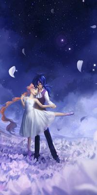Аватар вконтакте Влюбленная пара взявшись за руки стоят в розовых цветах, на фоне ночного неба