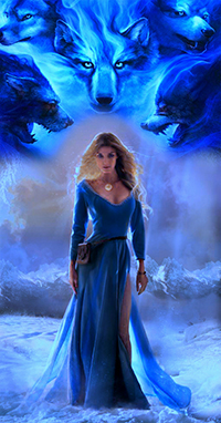 Аватар вконтакте Знамение из пяти белых волков над девушкой, идущей по снежной равнине