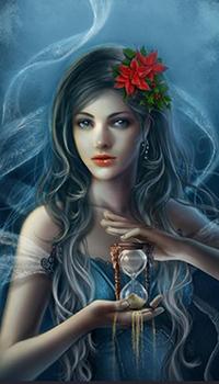 Аватар вконтакте Девушка с песочными часами в руках, художник Крис Ортега / Cris Ortega