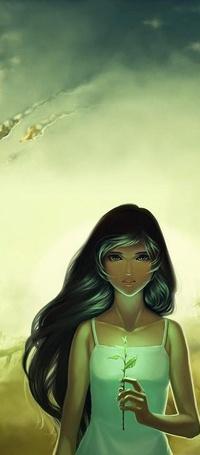 Аватар вконтакте Черноволосая девушка на фоне неба с цветком в руке