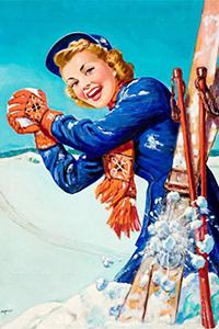 Аватар вконтакте Девушка-лыжница играет в снежки