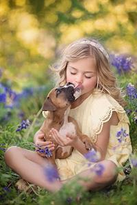 Аватар вконтакте Девочка сидит на поляне цветов с ласковым щенком на руках