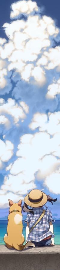 Аватар вконтакте Девочка с собакой сидит на фоне огромного облака