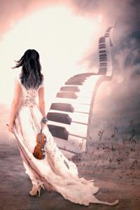 Аватар вконтакте Девушка со смычком и скрипкой в руках идет к мостику в небо из черно-белых клавиш