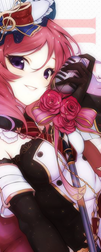 Аватар вконтакте Маки Нишикино / Maki Nishikino из аниме Love Live! прижимает микрофон к лицу и улыбается