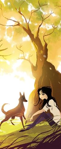 Аватар вконтакте Девочка с собакой сидят под деревом, by FionaHsieh