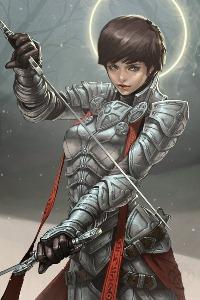 Аватар вконтакте Воинственная жрица в латах с мечами