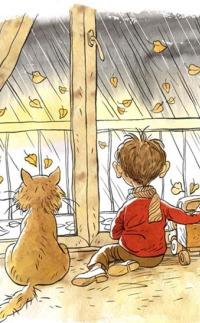 Аватар вконтакте Мальчик с котенком сидят на полу и смотрят в окно на дождливую осень