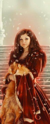 Аватар вконтакте Девушка с лисой стоит на ступеньках под падающим снегом, by Nejija