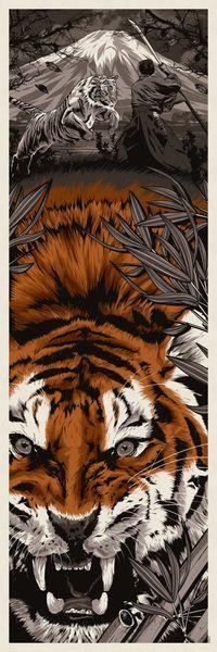Аватар вконтакте На переднем плане оскалившийся тигр, на заднем плане самурай сражается с тигром на фоне заснеженной вершины горы Фудзияма, by Anthony Petries