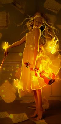 99px.ru аватар Девушка стоит со скрипкой и смычком в руках, вокруг нее летают желтые светящиеся бабочки, сверху падают на пол листки с нотами, by GORI89