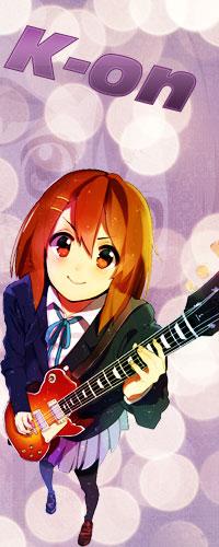 99px.ru аватар Hirasawa Yui / Хирасава Юи держит в руках гитару и улыбается из аниме К-ОN! / Клуб легкой музыки