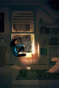 Аватар вконтакте Зимним вечером девушка уютно расположилась на подоконнике и в свете настольной лампы смотрит на падающий снег за окном, художник Паскаль Кампион / Pascal Campion