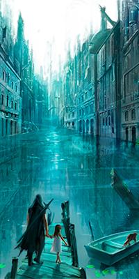 Аватар вконтакте Воин ведет девочку по пирсу к лодке, с котом на корме, в затопленном городе, art Sae