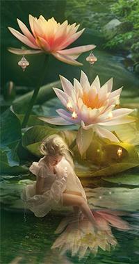 Аватар вконтакте Фея развесила фонарики на лотосы и любуется отражением цветов в воде, by Phatpuppyart