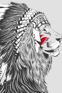 Тату льва в индейские