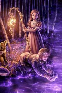 Аватар вконтакте Девочка, мальчик и собака у волшебной воды, художница Лора Диль / Laura Diehl