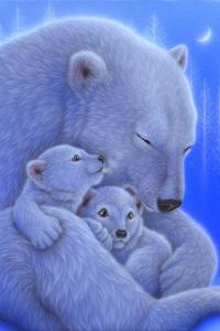 Аватар вконтакте Большая медведица обнимает двух маленьких медвежат, art Kentaro Nishino