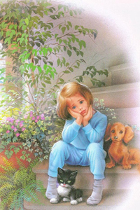 Аватар вконтакте Маленькая девочка с котенком и щенком, art Marcel Marlier