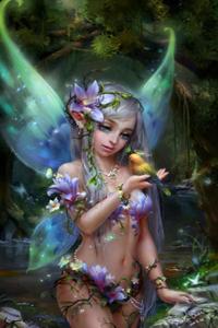Аватар вконтакте Маленькая фея держит на ладони птичку